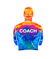 abstract sports coach stands with his back in a t vector image