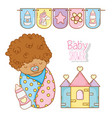 baby boy shower with feeding bottle and house vector image vector image