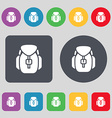 Backpack icon sign A set of 12 colored buttons vector image