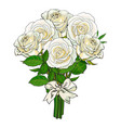 bouquet bunch of white roses tied with ribbon vector image vector image