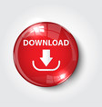 button download color red glossy vector image vector image