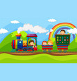 children riding on train vector image vector image