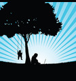 children silhouette sitting under the tree in vector image vector image