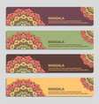 colorful set of ornamental banners with mandala vector image vector image
