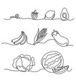 continuous one line drawing vegetables differebt s vector image