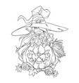 contour drawing of a cute witch on a white vector image vector image
