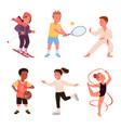 cute happy boy girl run child play baseball vector image vector image