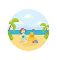 cute little girl making sand castle on beach vector image
