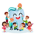 cute little kids cleaning giant white smiing tooth vector image