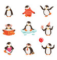 cute little penguin cartoon characters set for vector image vector image