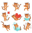 cute little tiger in different situations set vector image vector image