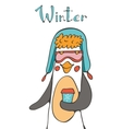 Cute penguin character vector image