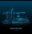 digital cargo sea port vector image