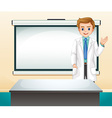 Doctor and white screen in the room vector image