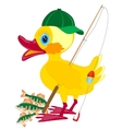 Duckling fisherman with fishing rod vector image vector image