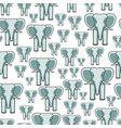 elephant face seamless pattern vector image vector image