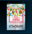 festa junina party flyer with flags vector image vector image