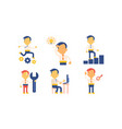 flat set of icons with businessman in vector image