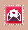 happy valentine day card in envelope stamp vector image