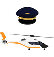 Helicopter and pilot cap vector image vector image