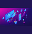 isometric content marketing team vector image vector image