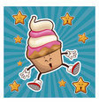 kawaii ice cream funny character vector image