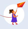 little cute girl launching kite child having fun vector image