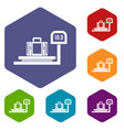 luggage weighing icons set vector image