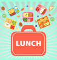 lunch box with food banner vector image vector image