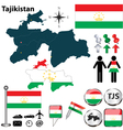 Map of Tajikistan vector image vector image