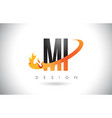 mi m i letter logo with fire flames design and vector image vector image
