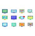 monitor icon set cartoon style vector image vector image