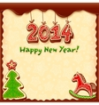 New year gingerbread style greeting card vector image vector image