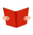 Open book with hands vector image vector image