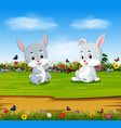 rabbits relax in the sunny day vector image vector image