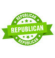 republican ribbon republican round green sign vector image vector image