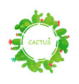 round frame of cacti border vector image vector image