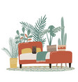 scandinavian cozy detailed boho style bedroom vector image vector image