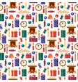 seamless pattern christmas elements - gifts clock vector image vector image