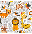 seamless pattern with coloring tropical animals vector image vector image