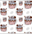 seamless pattern with cupcake with cookie vector image vector image