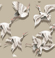 seamless pattern with japanese white crane vector image
