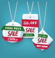 season end sale tags holiday discount on blue vector image vector image