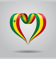 senegalese flag heart-shaped ribbon vector image vector image