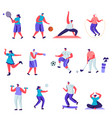 set flat people sports activities characters vector image