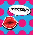 sexy red lips and comic speech bubble beautiful vector image vector image