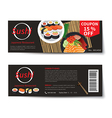 sushi coupon discount template flat design vector image vector image