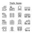 train icons set in thin line style vector image vector image