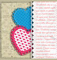 two colored textile hearts composition vector image vector image