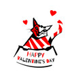 valentines day cat logo vector image